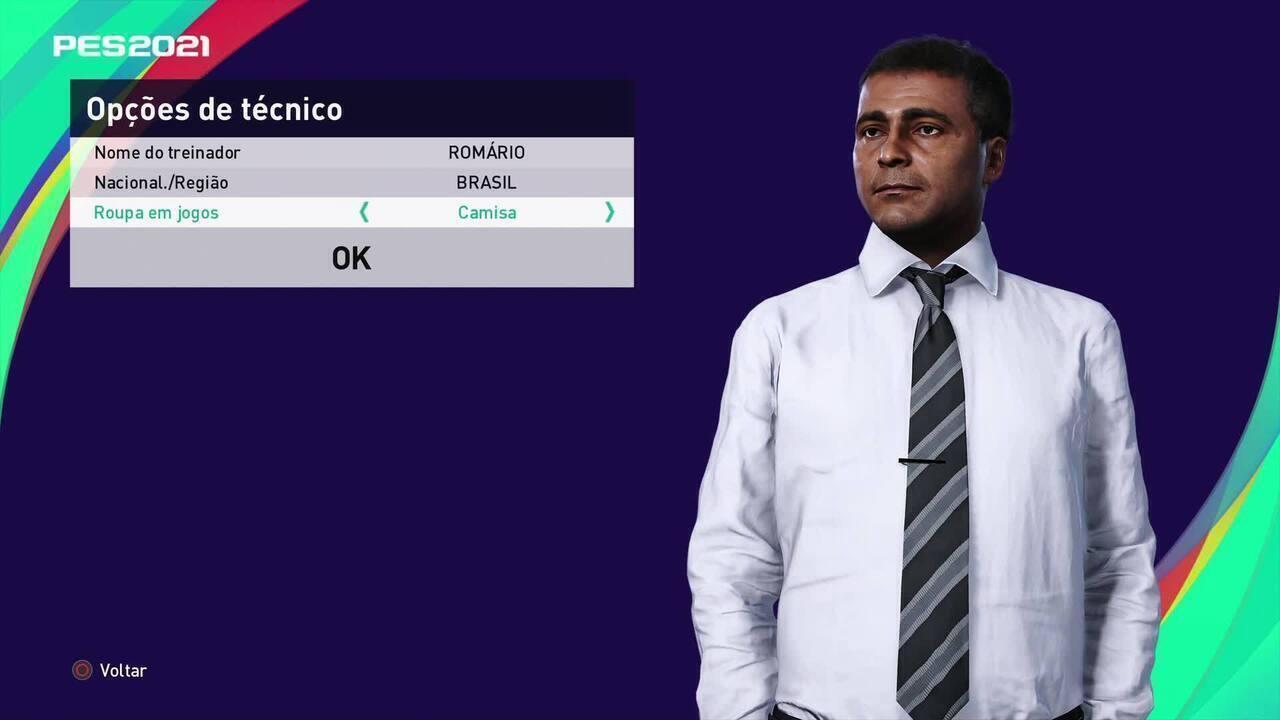 Romário atua como técnico no eFootball PES 21