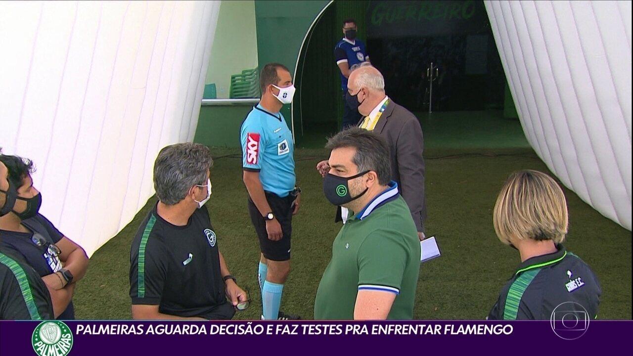 Palmeiras aguarda decisão e faz testes para enfrentar o Flamengo