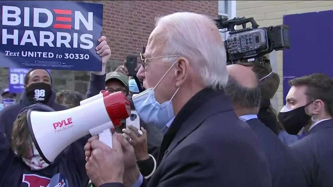 'Queremos verdade, queremos a ciência em vez de ficção', diz Biden a apoiadores