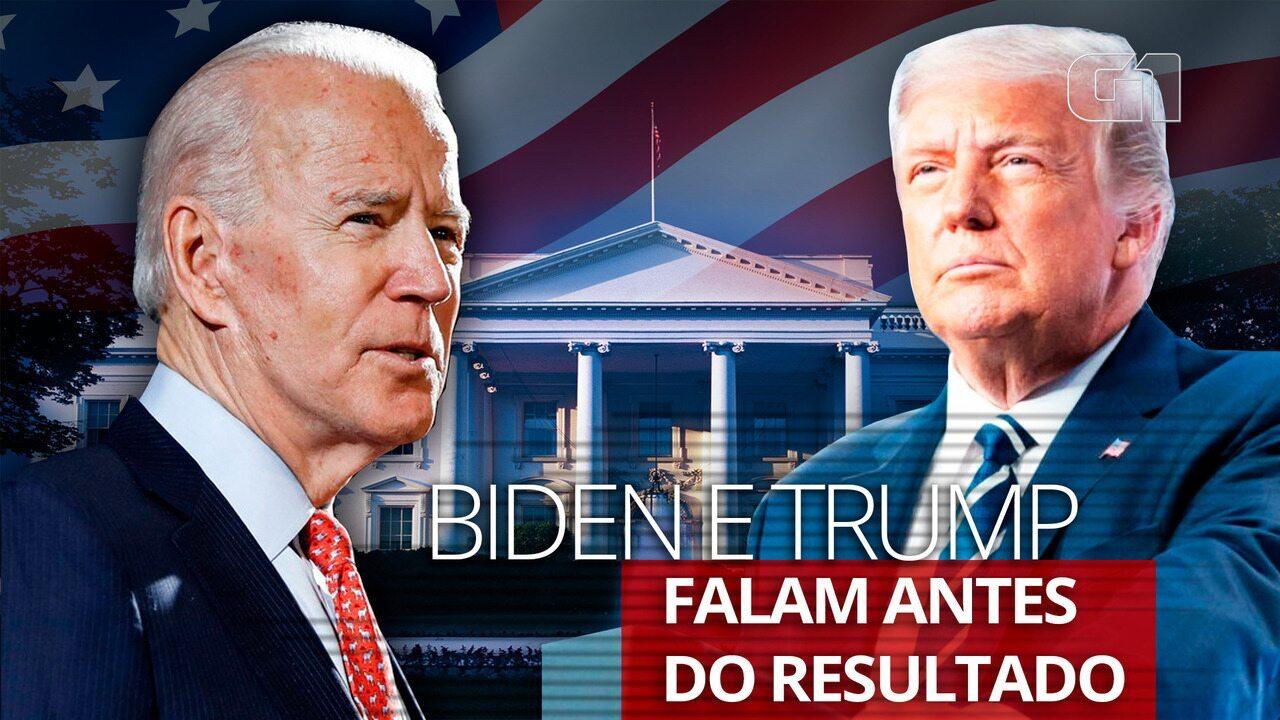 Trump e Biden fazem discursos durante a votação nos EUA