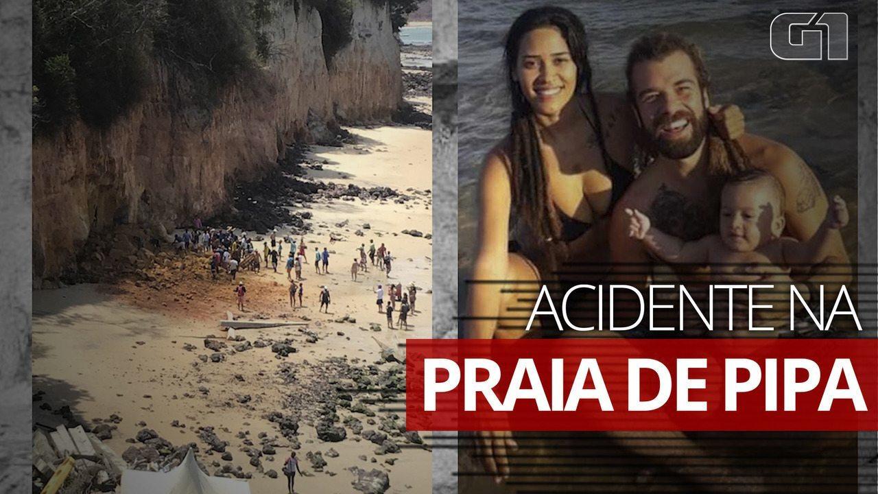 Parte de falésia desaba em Pipa e deixa três vítimas