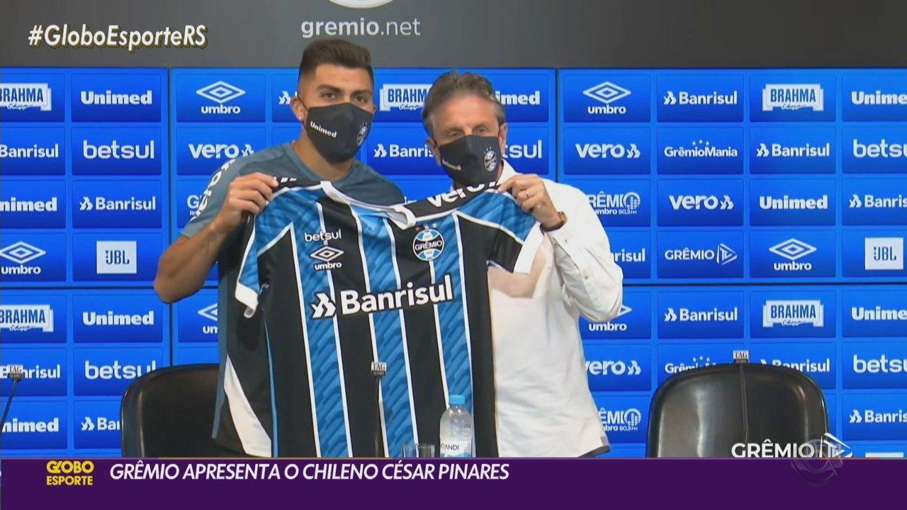 Grêmio apresenta Pinares e meia pode ficar à disposição para o jogo do fim de semana