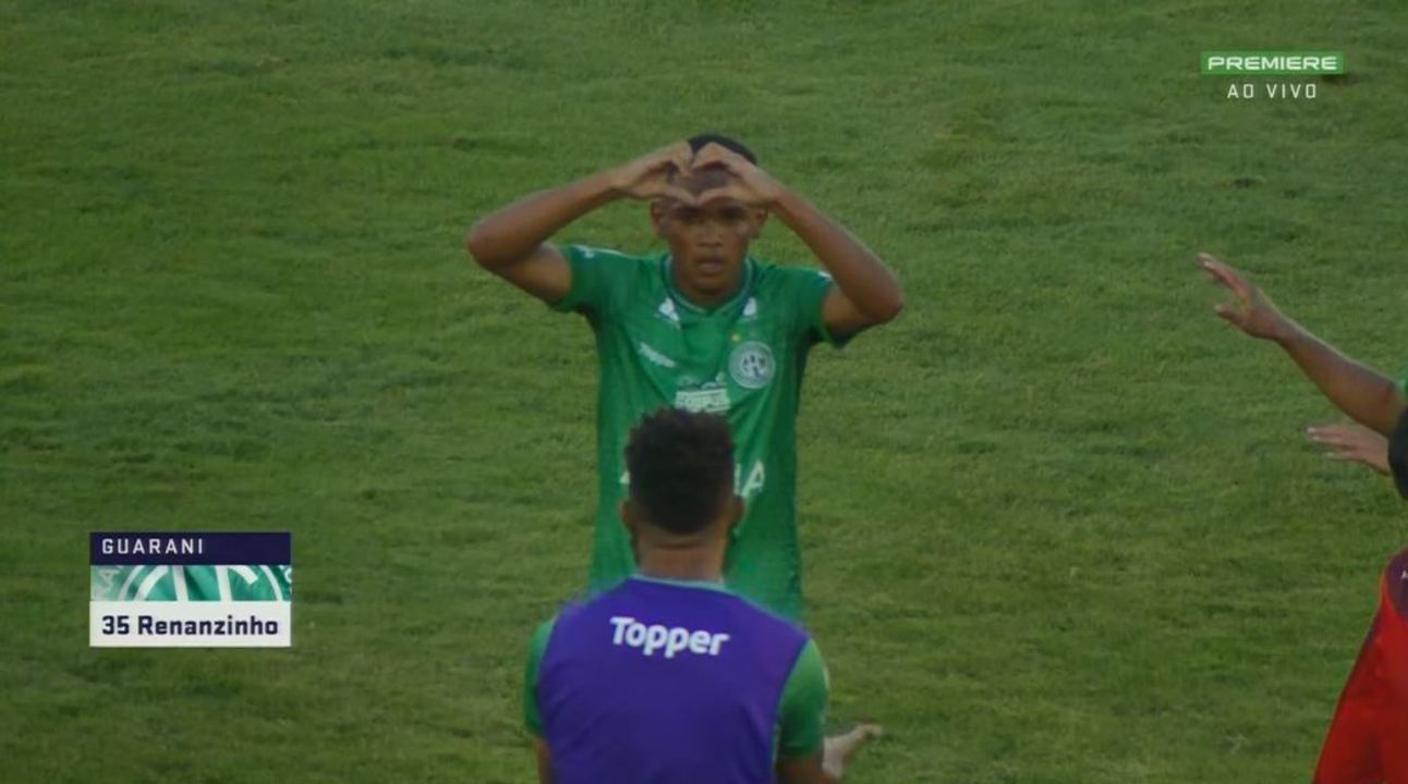 Gol do Guarani! Rickson rola para Renanzinho, que desvia e amplia aos 49' do 2º