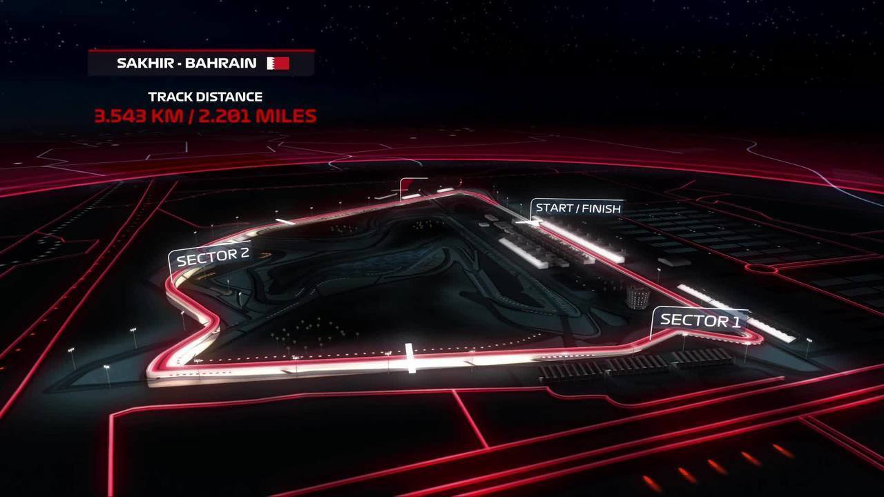 Mapa do anel externo do Circuito Internacional do Barein, sede do GP de Sakhir de F1
