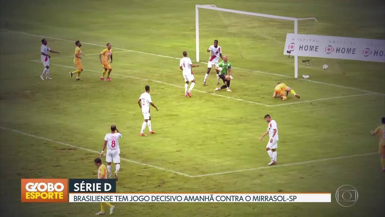Brasiliense tem jogo decisivo contra o Mirassol-SP pela Série D