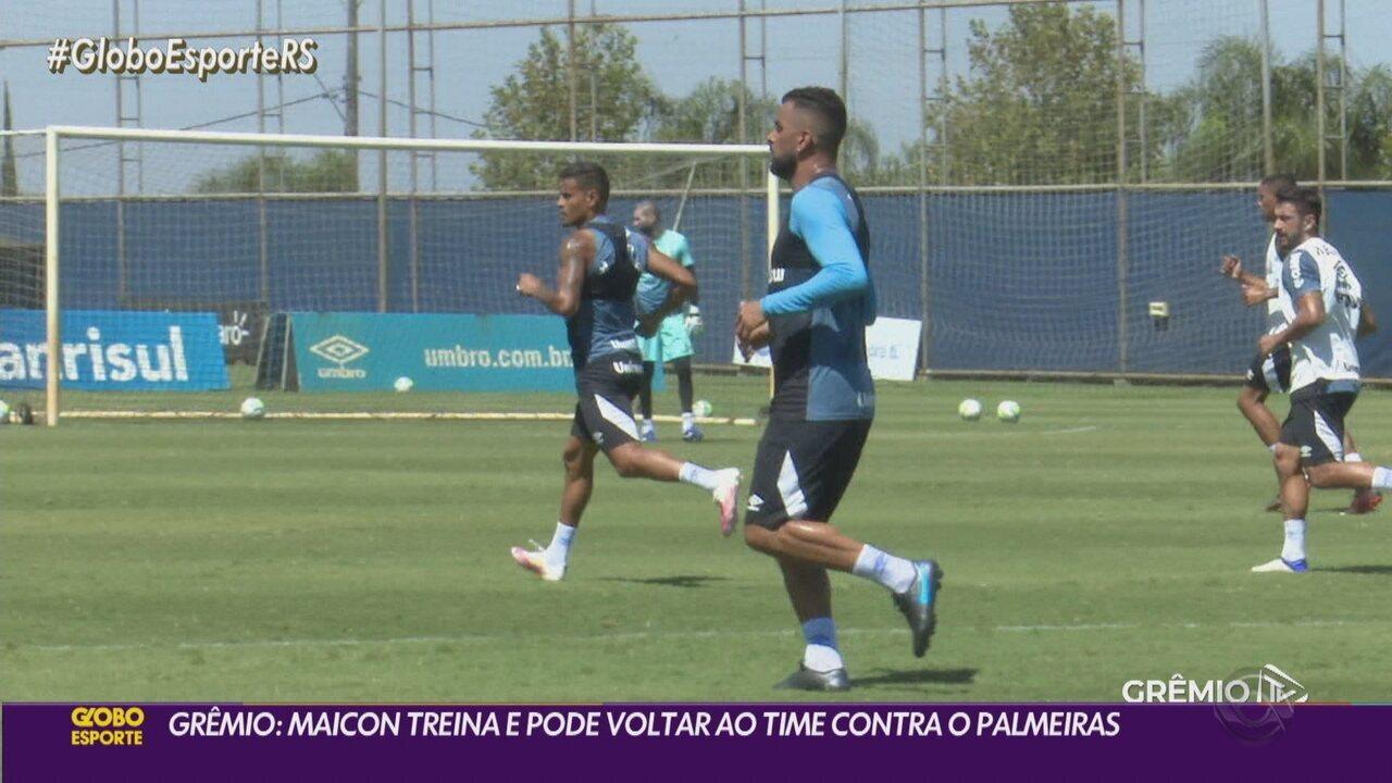 Maicon treina e pode voltar a ser relacionado contra o Palmeiras, na próxima sexta-feira