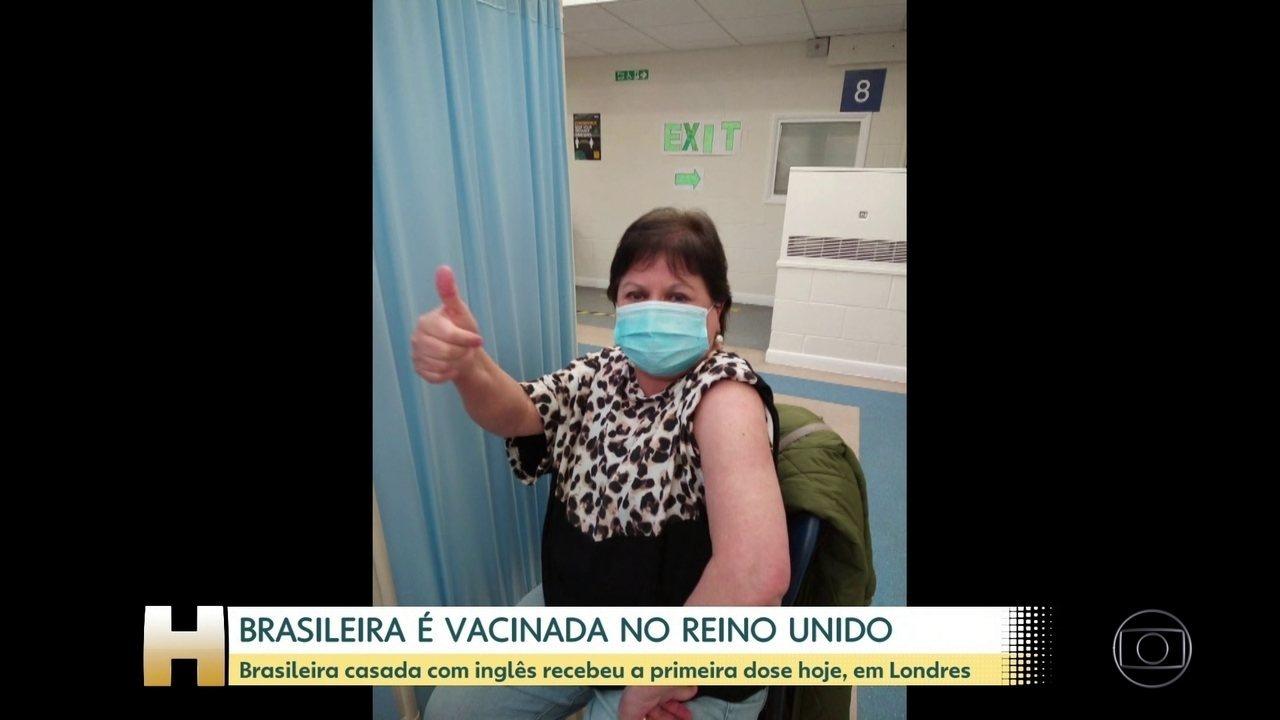 Brasileira casada com inglês é vacinada em Londres