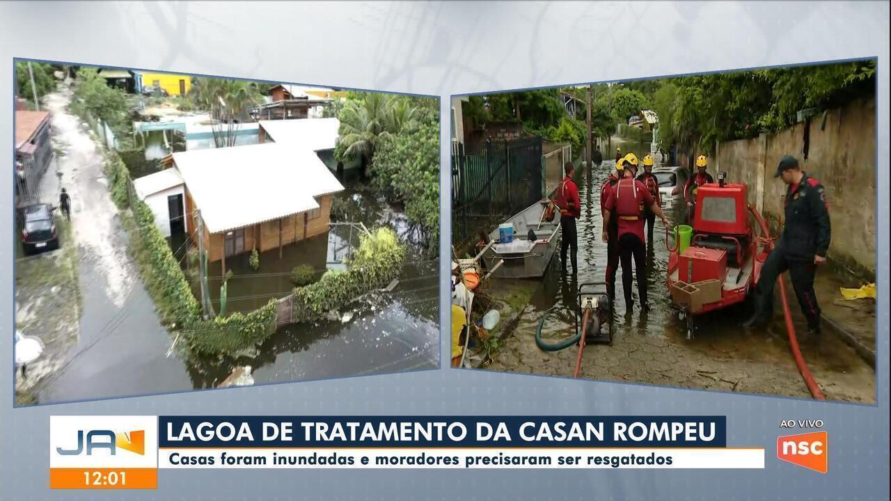 Casas ficam inundadas após rompimento de lagoa em Florianópolis