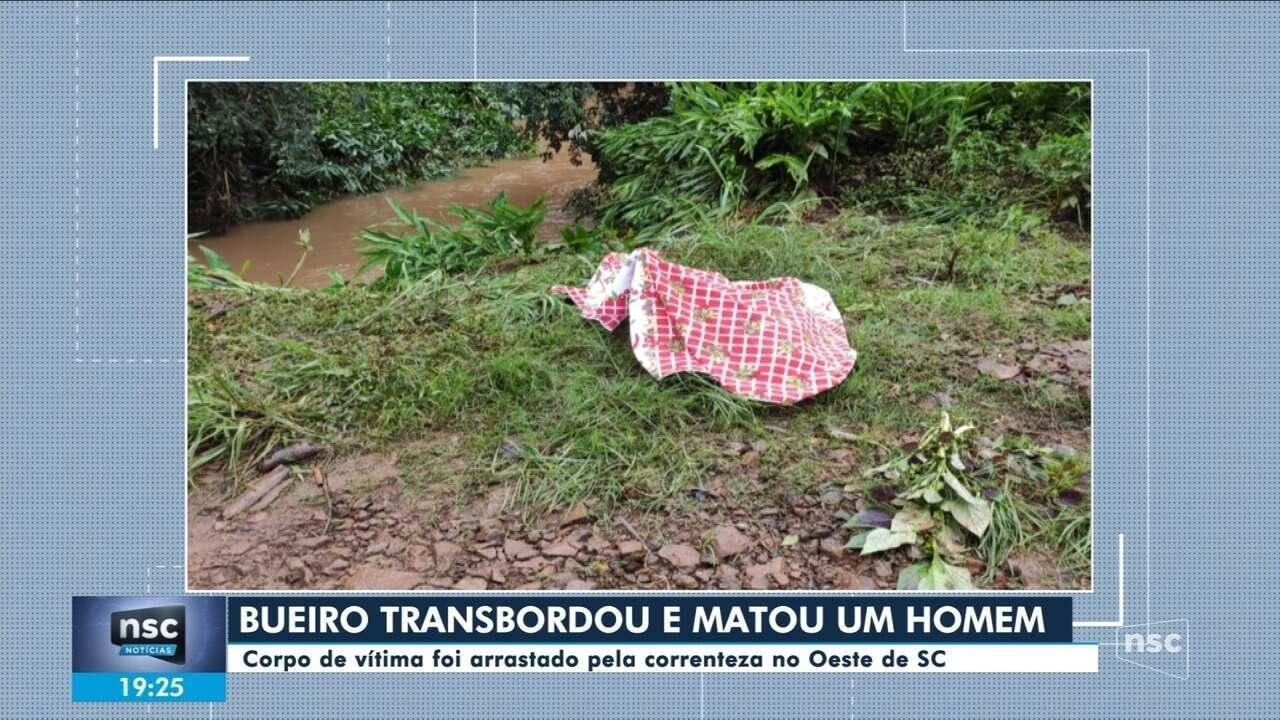Homem morre após ser arrastado por água de bueiro que transbordou no Oeste de SC