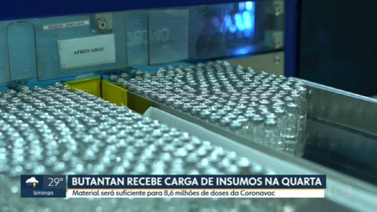 Instituto Butantan recebe insumos para fabricar Coronavac na próxima quarta