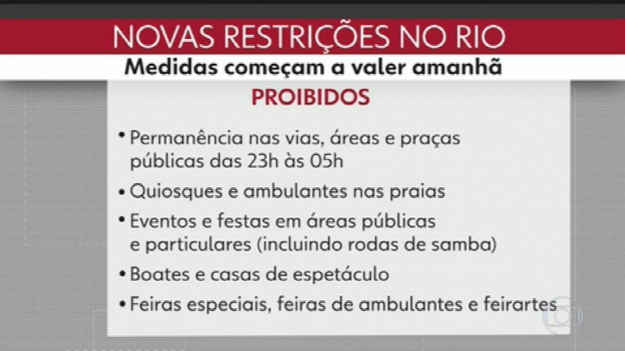 VÍDEO: veja as novas medidas de restrição publicadas no Diário Oficial do Rio