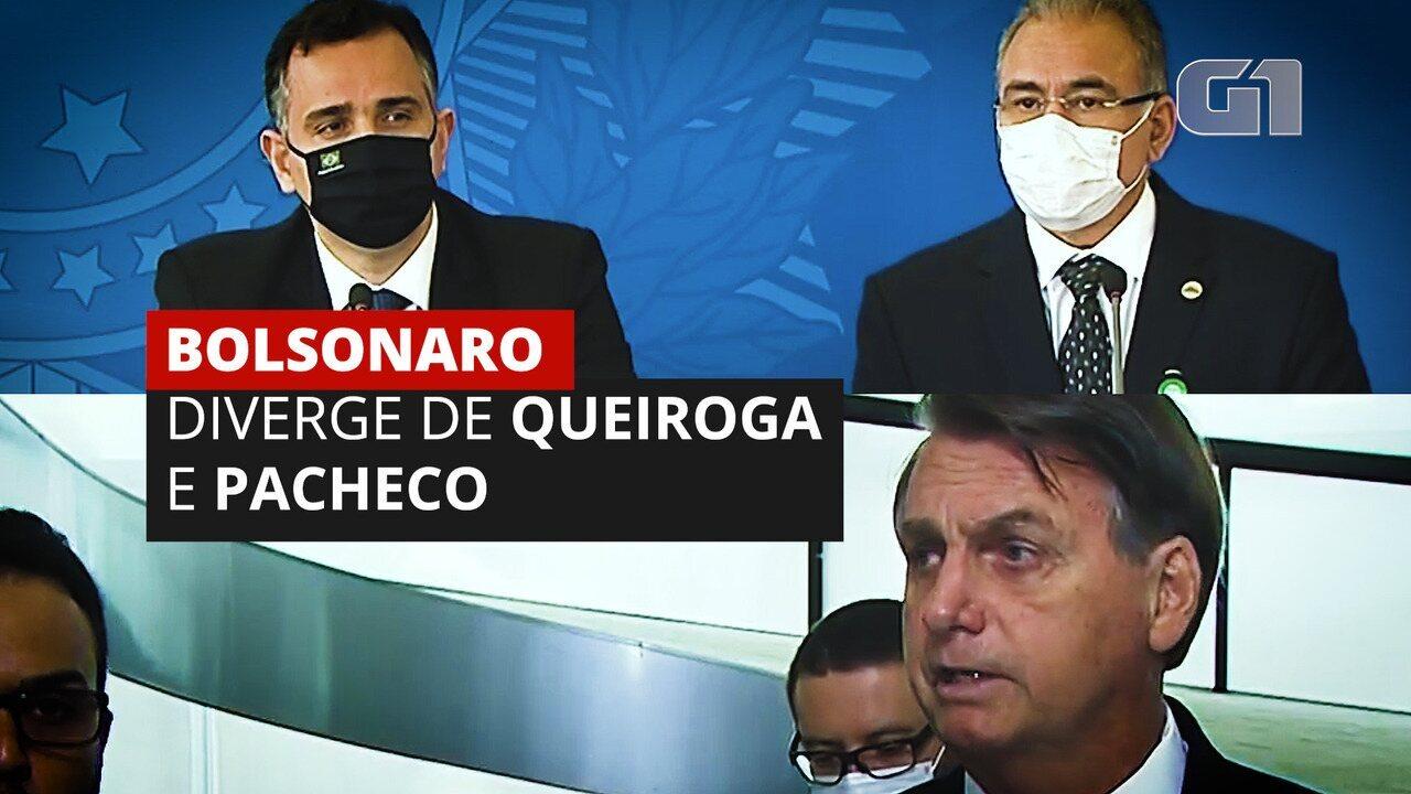 Após primeira reunião do comitê da Covid, Bolsonaro diverge de Queiroga e Pacheco