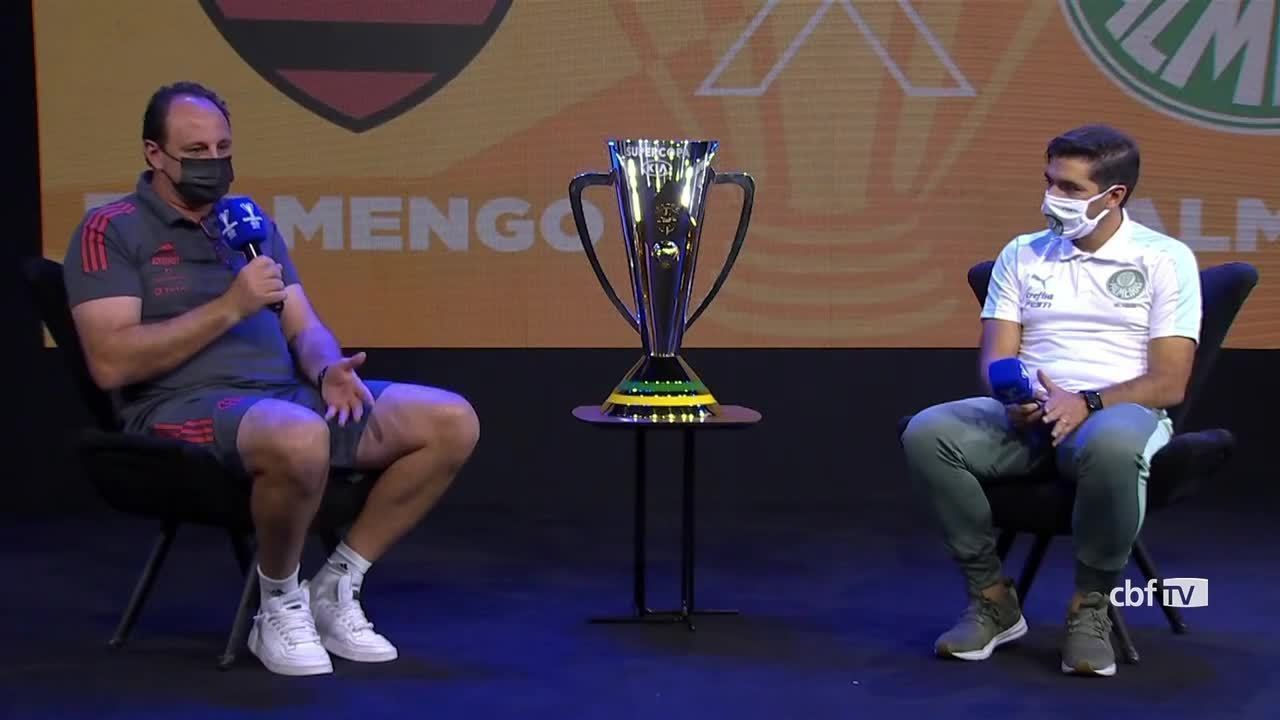Veja a coletiva dos treinadores Rogério Ceni e Abel Ferreira antes da Supercopa