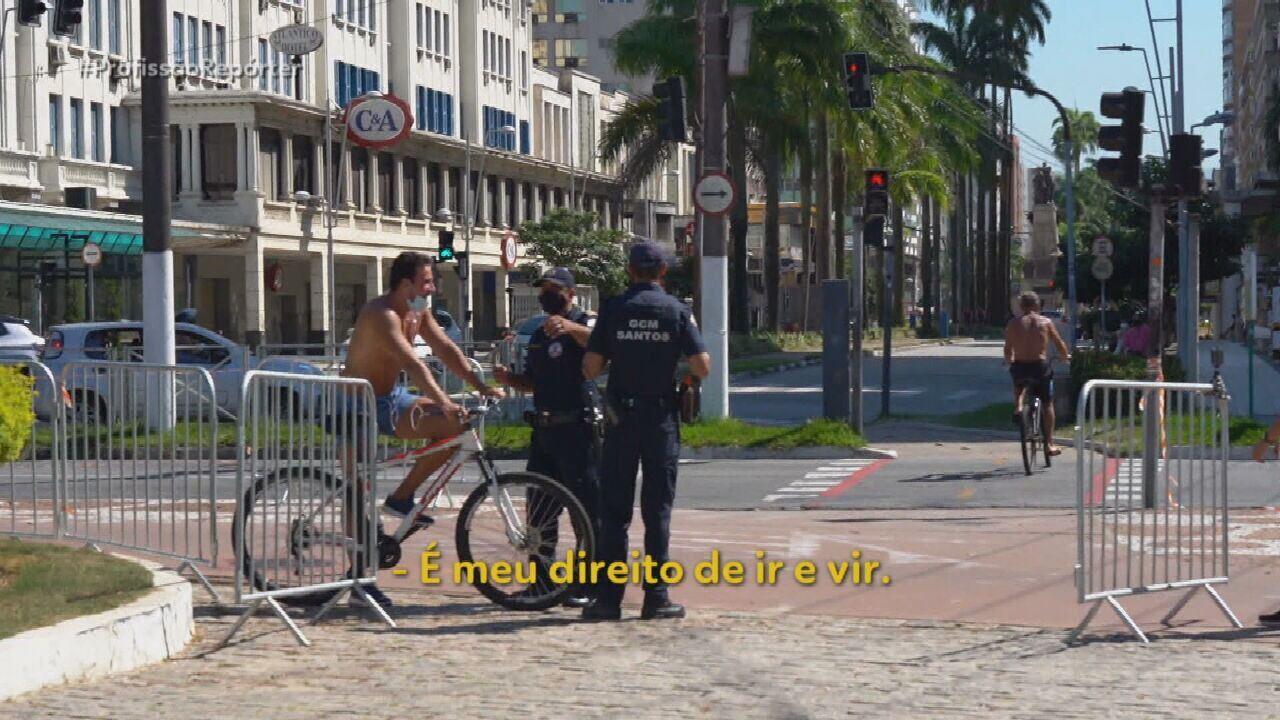 Ciclista se revolta ao ser multado por estar pedalando fora do horário permitido em Santos