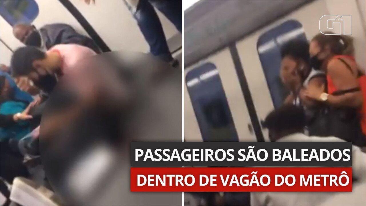 VÍDEO: passageiros são baleados dentro de vagão do metrô, perto do Jacarezinho