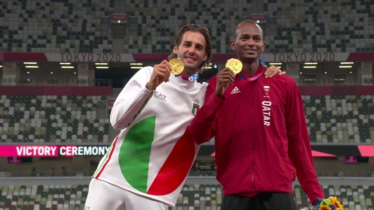 Veja pódio com ouro dividido entre atletas da Itália e do Qatar no salto masculino - Olimpíadas de Tóquio