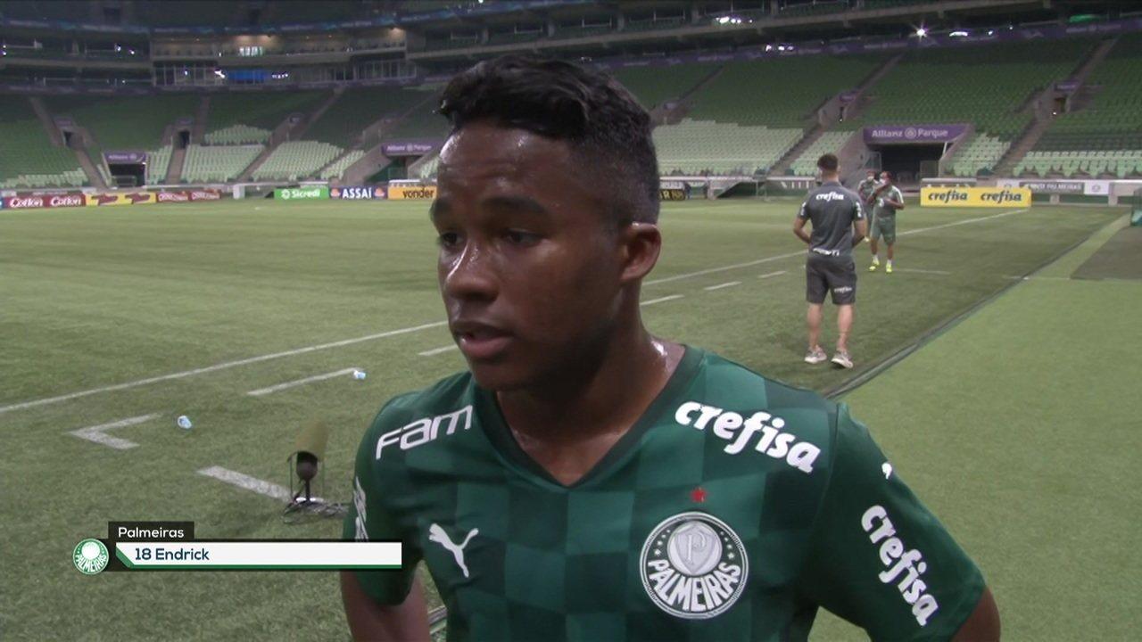"""Endrick comenta empate contra o Grêmio: """"Nunca imaginava estar aqui no sub-20 com essa idade"""""""